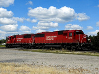 Canadian Pacific SD60 6248 and 6225, Minnedosa MB.  8/2017