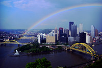 Pittsburgh PA from Mt. Washington with a Rainbow